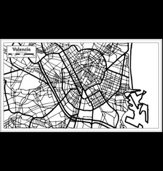 valencia spain city map in retro style outline map vector image