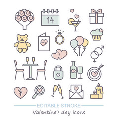 valentine icon set happy valentine day related vector image