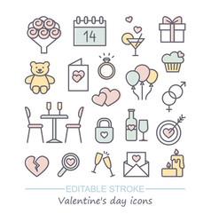 valentine icon set happy valentine day related vector image