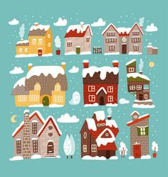 winter houses collection cartoon snow bildings vector image