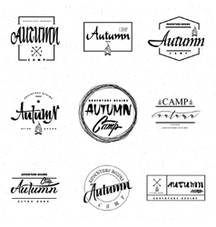 Autumn camp- calligraphic lettering badge label vector image