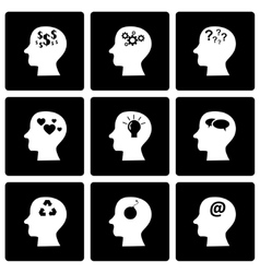black thoughts icon set vector image vector image