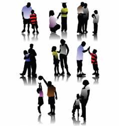 children with parents vector image