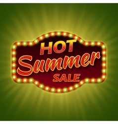 Hot summer sale 3d retro banner with shining bulb vector image vector image