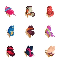 Insects butterflies icons set cartoon style vector image vector image