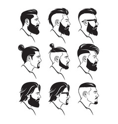 set of silhouette bearded men faces hipsters style vector image