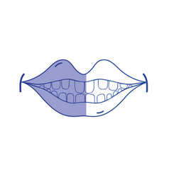 Silhouette happy mouth with teeth design icon vector