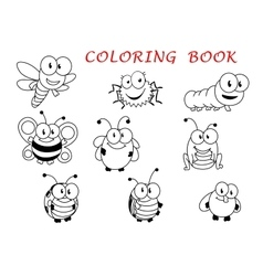 Cartoon funny outline insect characters vector image
