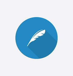 feather Flat Blue Simple Icon with long shadow vector image