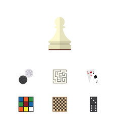 flat icon play set of ace chequer bones game and vector image vector image