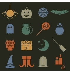 Halloween colorful flat icons set vector image vector image