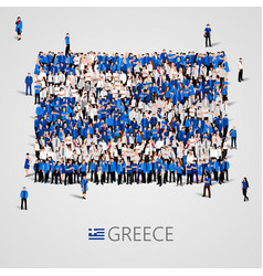 large group of people in the shape of greece flag vector image