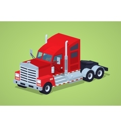 Low poly red heavy american truck vector image