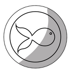 silhouette emblem fish icon vector image