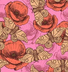 Sketch moth and poppy in vintage style vector image