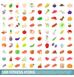 100 fitness icons set cartoon style vector image vector image