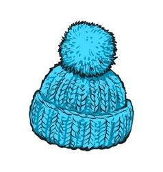 Bright blue winter knitted hat with pompon vector image vector image
