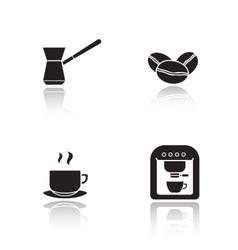 Coffee appliances drop shadow icons set vector image