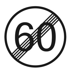 end maximum speed limit 60 sign line icon vector image vector image