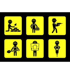 set yellow construction icons with builders vector image vector image