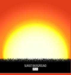 sunset or sunrise abstract background with black vector image vector image