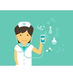Mobile medicine of female doctor and vector