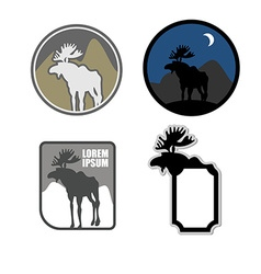 Set of icons logo moose Emblem for hunters or for vector image