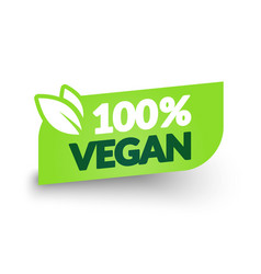100 percent vegan label modern web button design vector image