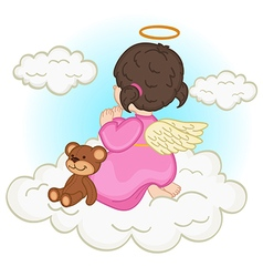 Angel baby girl on cloud vector