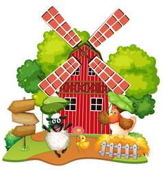 Animal at farm house vector