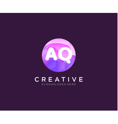Aq initial logo with colorful circle template vector