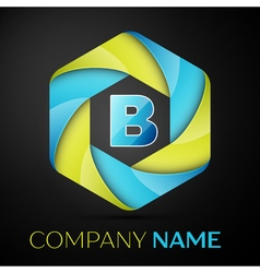 B letter colorful logo in the hexagonal on black vector