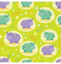 Baby seamless pattern with cute hippos vector