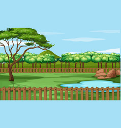 Background scene park with pond and trees vector