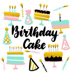 birthday cake handwritten postcard vector image