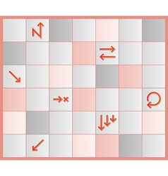 Board with different tiles and arrows vector