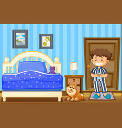 Boy and dog in blue bedroom vector