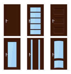 brown doors set of wooden interior designs vector image