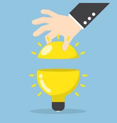 businessman hand open light bulb vector image