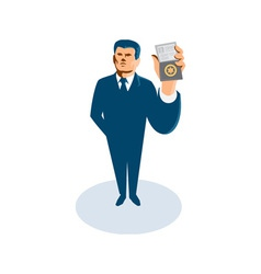 businessman secret agent showing id card badge vector image