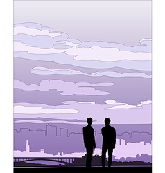 Businessmen negotiation silhouette vector image vector image