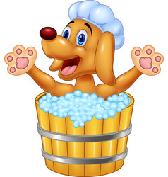 cartoon dog bathing waving hand vector image