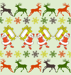 cartoon santa claus pattern reindeers silhouettes vector image
