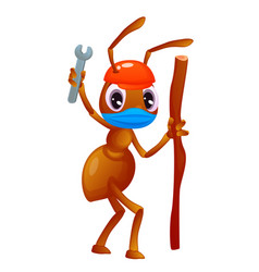 Cartoon style ant with a stick in hand is waving vector
