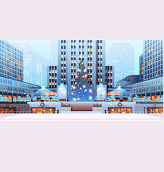 central city square with decorated christmas tree vector image
