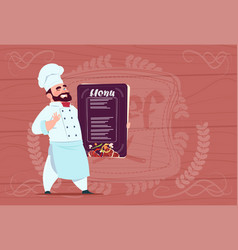 chef cook holding restaurant menu smiling cartoon vector image