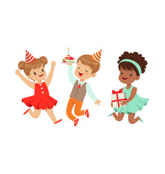 Children celebrate a birthday vector
