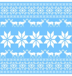 Christmas and winter norwegian pattern in blue vector image