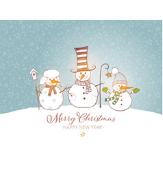 christmas card with cute snowman and rustic vector image