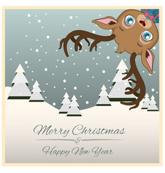 christmas greeting with funny little reindeer vector image